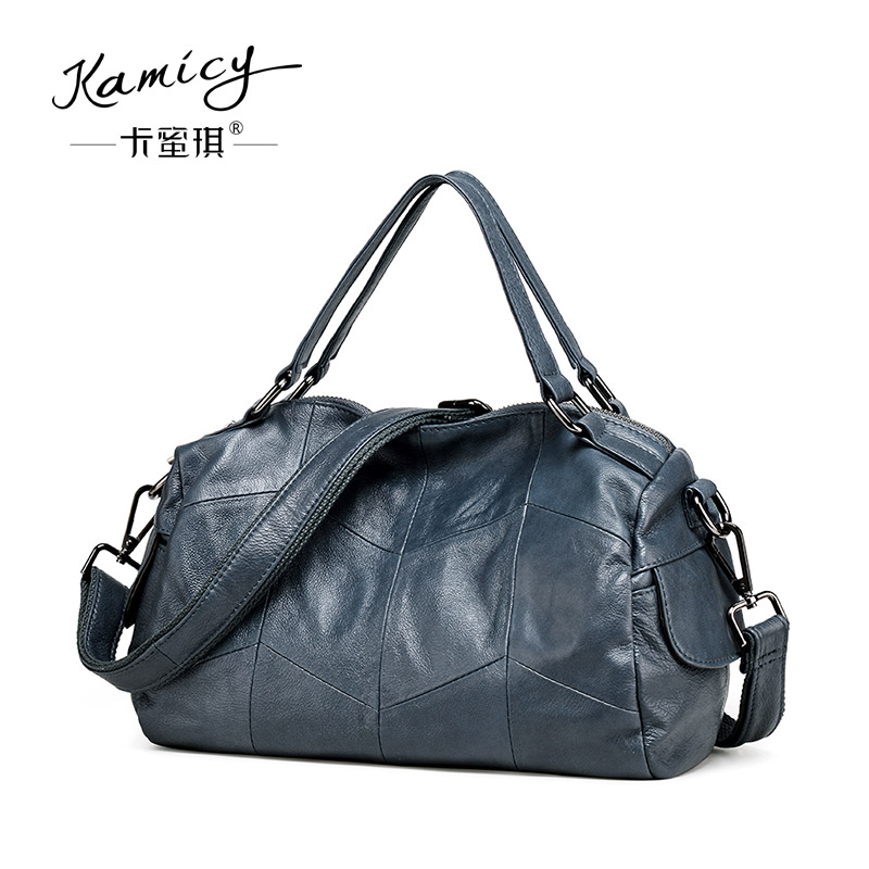 Kamicy Brand Bag Women Genuine Leather Handbag Fashion Solid Color Cowhide  Shoulder  Bag Large  Casual Tote Composite Women Bag 2017 esufeir brand genuine leather women handbag fashion shoulder bag solid cowhide composite bag large capacity casual tote bag