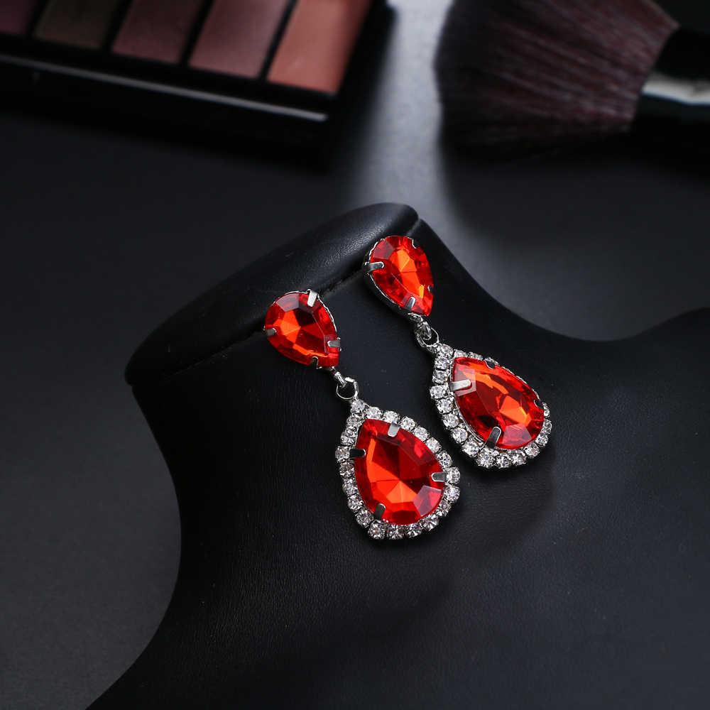 KISSWIFE ファッション古典的な高級シャイニークリスタルウォータードロップブラブライヤリング女性ブライダルウェディングジュエリーイヤリング卸売 6 色