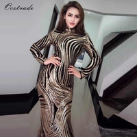 Ocstrade Gold High Neck Long Sleeve Maxi Gold Printing Bling Evening Bodycon Dress HW241 Gold