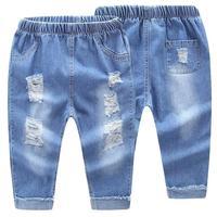 2017 miękkie dzieci dżinsy na wiosnę, jesień jeansowe jasnoniebieskie spodnie elastyczny pas dorywczo spodnie chłopców i dziewcząt dla dzieci nie blakną