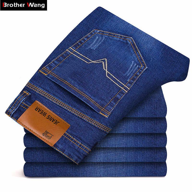 Бренд Brother Wang, мужские облегающие джинсы, модные, деловые, классические, стильные, Стрейчевые джинсы, джинсовые штаны, повседневные брюки, мужские, черные, синие