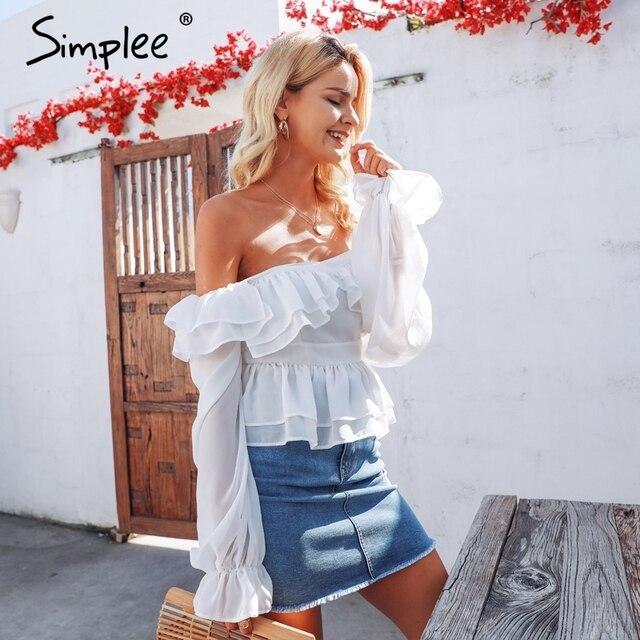 Simplee Sexy off shoulder women blouse shirt Elegant ruffled white peplum blouse korean High waist summer ladies tops shirt