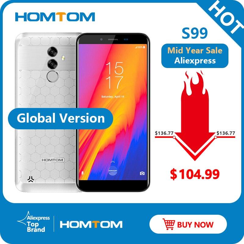 HOMTOM S99 Face ID 6200 mAh 4 GB 64 GB Smartphone 5.5 pouces sans lunette 21 + 2 MP double caméra arrière Android 8.0 téléphone portable à empreinte digitale