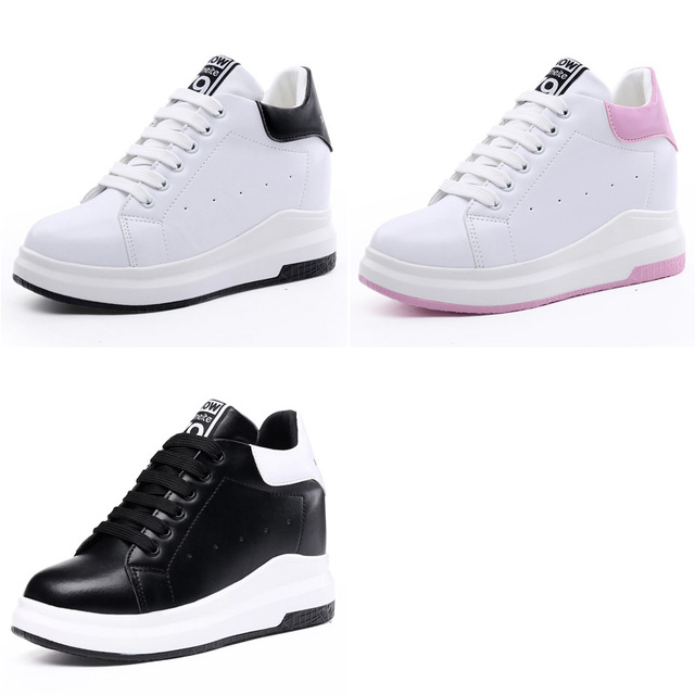 WOLF WHO Women Hidden Heels White Platform Wedges Shoes High Top PU Leather Krasovki Tenis Feminino Casual Basket Femme x261