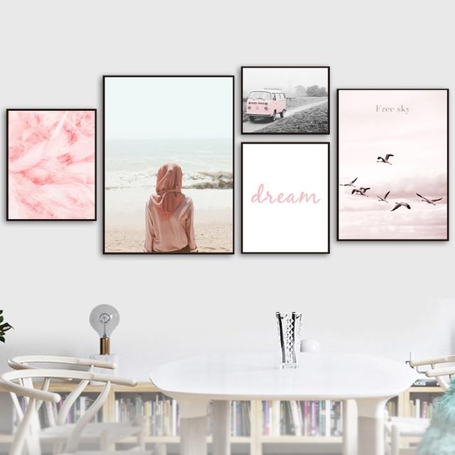 الوردي فتاة الطيور ريشة سيارة شاطئ البحر الرسم على لوحات القماش الجدارية الشمال الملصقات و يطبع جدار صور لغرفة المعيشة ديكور