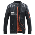 ARGY Fashion Men's PU Leather Jackets Baseball Collar Jaqueta De Couro Masculina Faux Leather Male Jacket Rib Sleeve M-5XL 5386