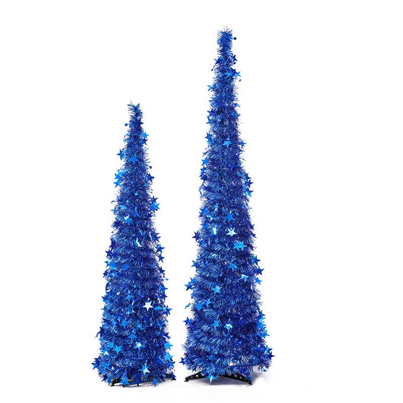 Искусственный мишуры всплывающие Рождественские елки с подставкой великолепные складной искусственная новогодняя елка Рождественские украшения