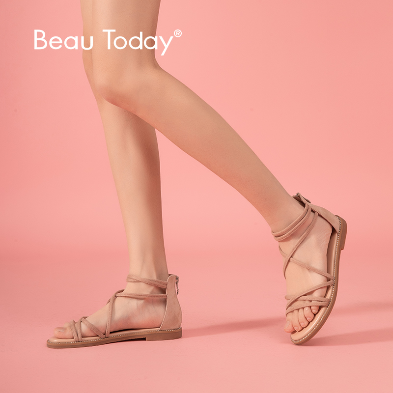 BeauToday Flat Sandals Women Kid Suede Leather Zipper Closure  Cross Tied Cover Heel Ladies Summer Beach Shoes 33008Low Heels   -
