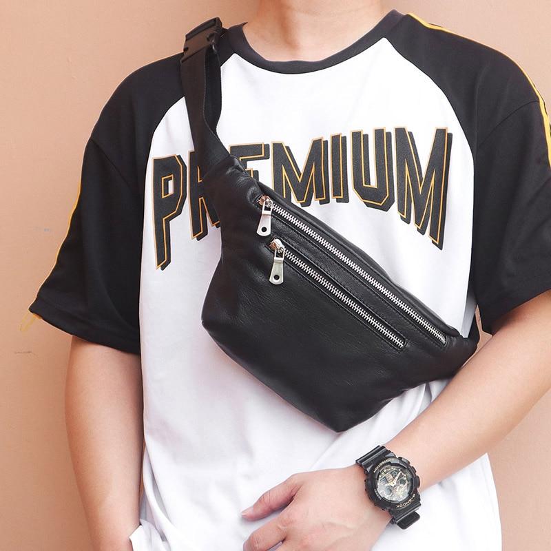 Mode en cuir véritable taille Packs pour hommes en cuir de vache ceinture sac sacs à bandoulière Style décontracté noir sac 3015A