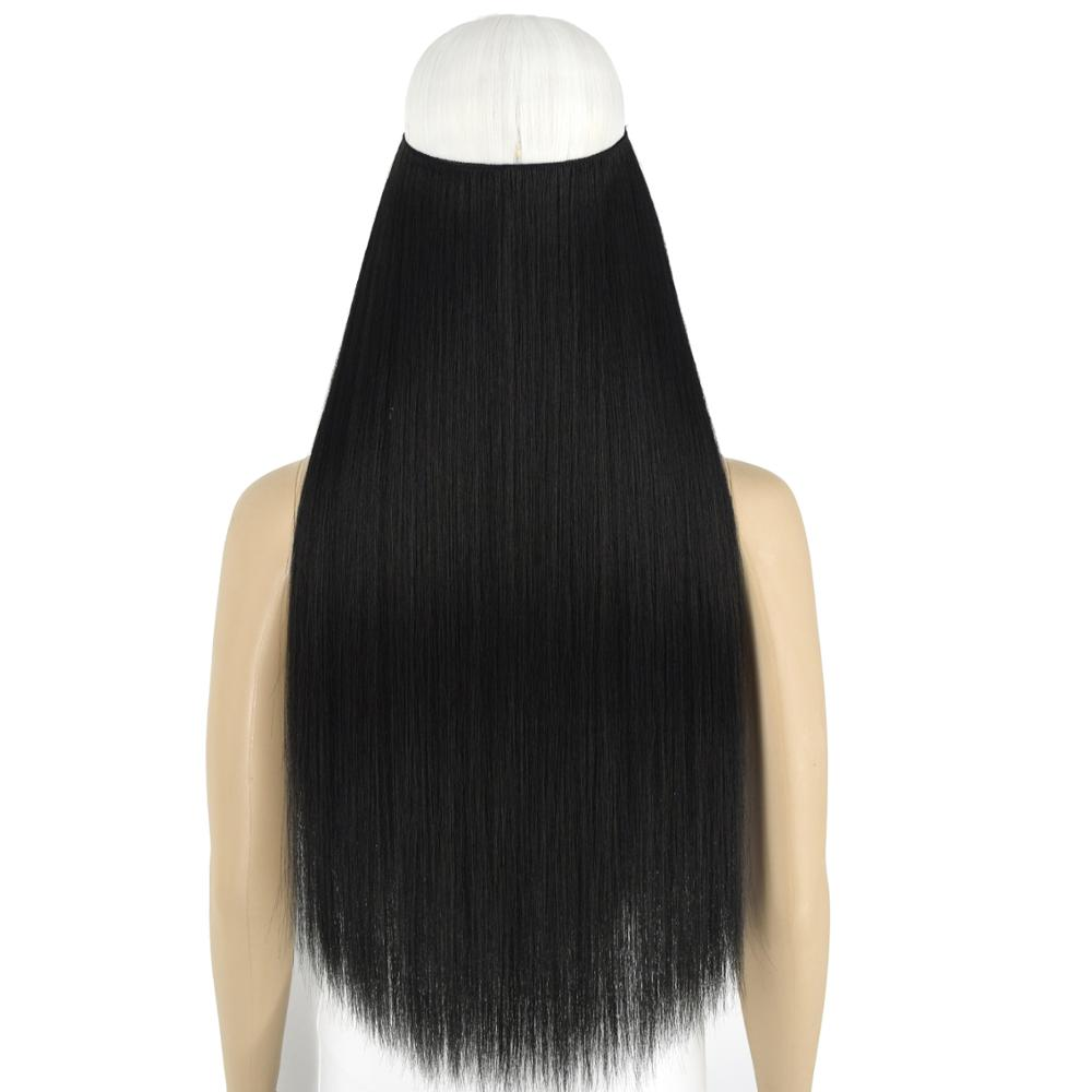 TOPREETY Heat Resistant Synthetic Halo Hair Extensions Straight Invisible Elastic Hidden Wire Hair Pieces No Clips TPYLS90
