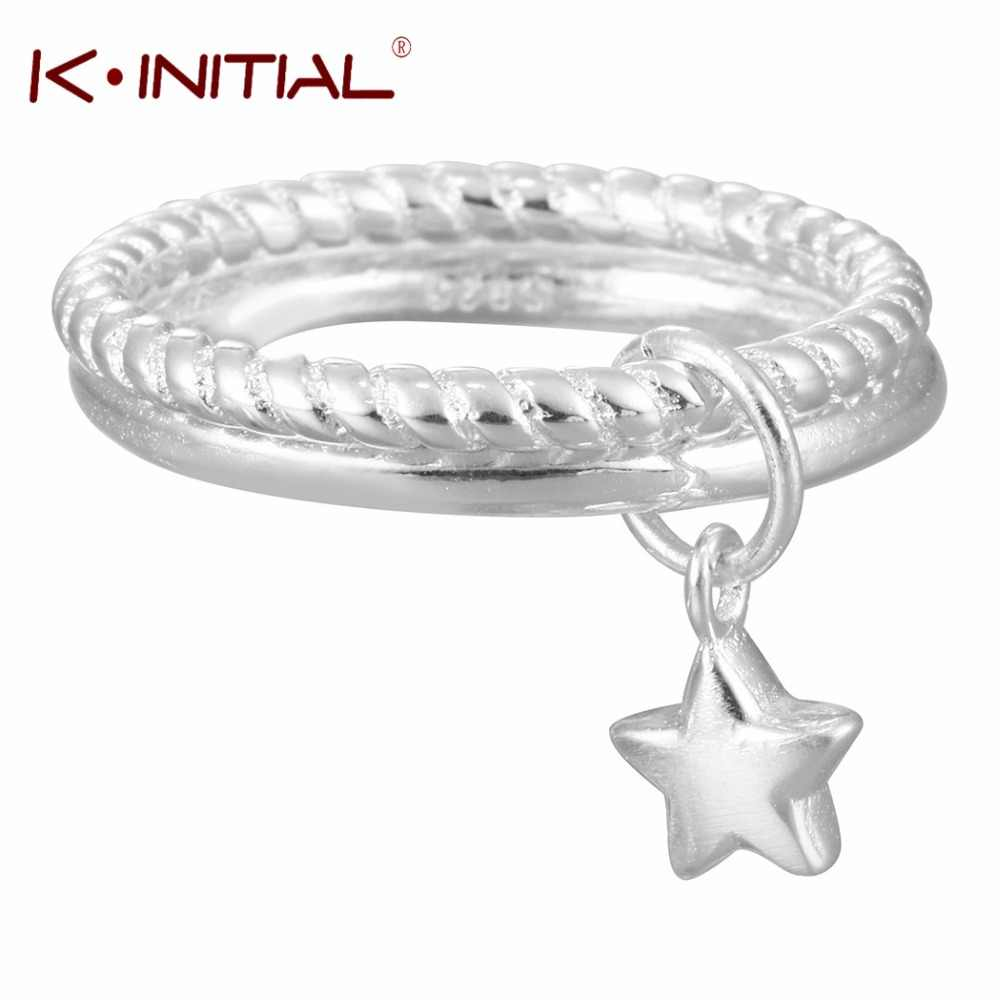 Kinitial 1 шт. Новый кулон из стерлингового серебра 925 пробы с двойными кольцами для женщин прекрасный подарок на Рождество для девочек эффектные ювелирные изделия