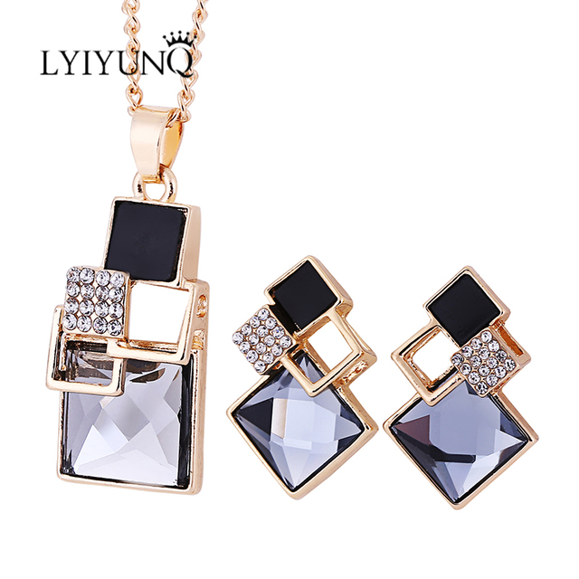 Brand Square Geometry Pandent Necklace Stud Earrings Crystal Magic Space Jewelry Set 5
