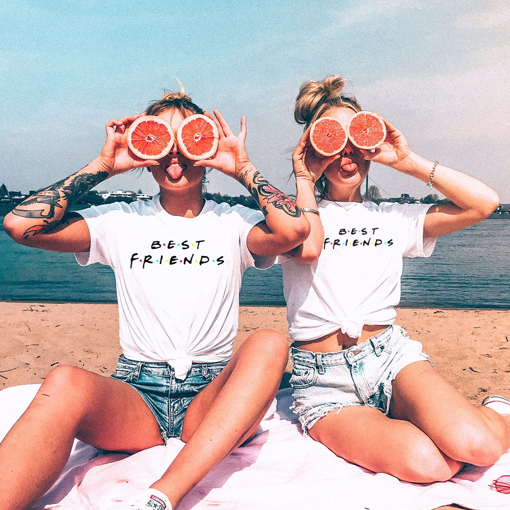 Classic Best Friends   t     shirt   women Letter printed Summer Tops Funny Casual Bff TShirt femme Harajuku Grunge   T  -  shirt   plus size