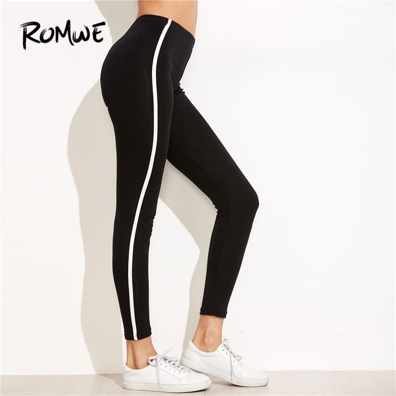 Romwe Sport Noir Rayé Côté Leggings 2018 Nouvelles Femmes Noir Régulière Fit Pantalon Dames Sportif Crop Active Wear Pantalon