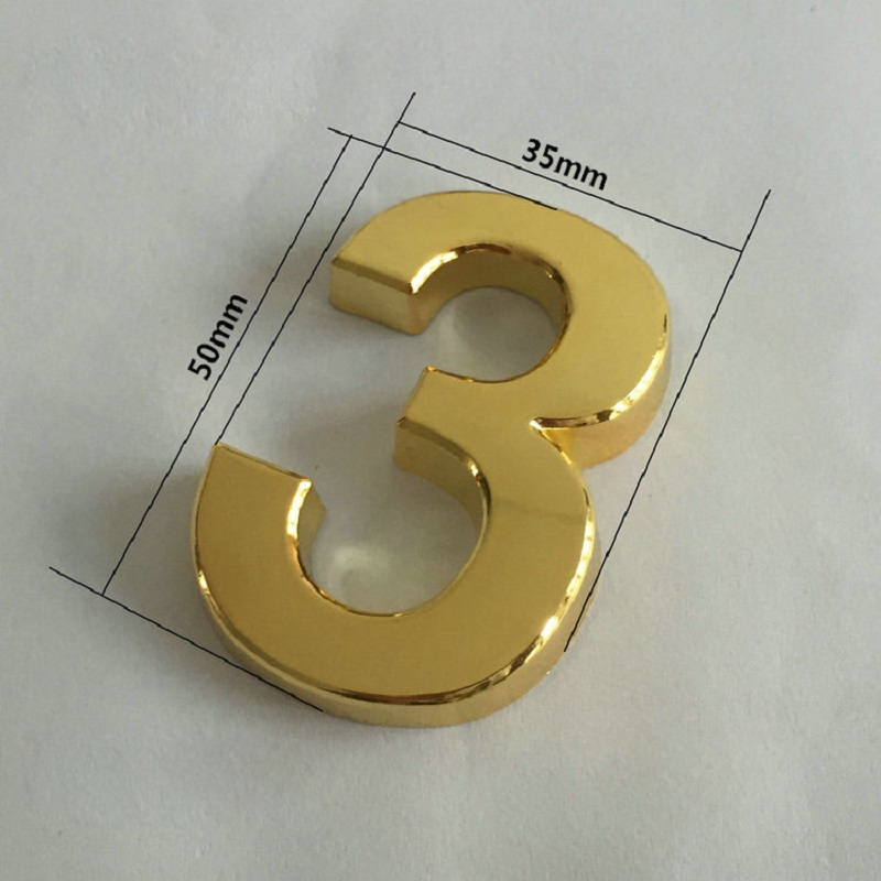 Reflective Silver Gold House Door Car Address Number Digits Numeral Plate Sign Room Gate 0-9 Sticker With Self-adhesive Sticker number