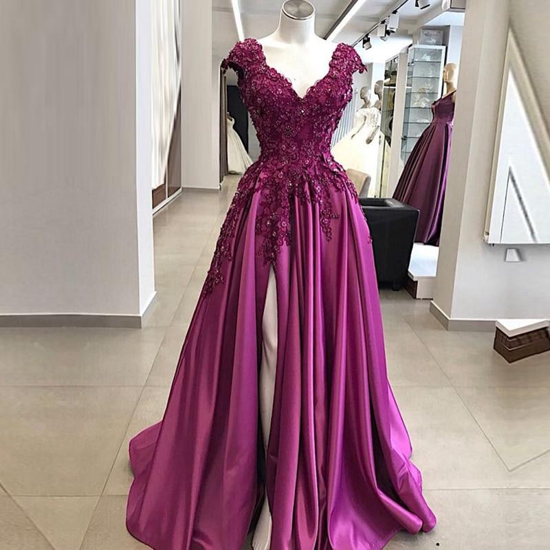 Elegant Long Purple Prom Dresses abendkleider 2019 Sexy High Slit Beaded Applique vestidos de fiesta largos