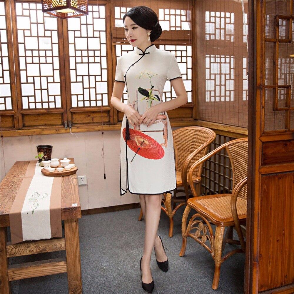2017 Китайский Стиль Платье Традиционной Китайской женская Clothing Восточные Платья Qipao Платье 4 Цвет