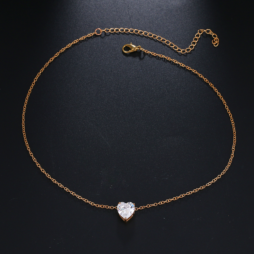 Crystal Heart Pendant Chain Necklace Short Gold Chocker Necklace
