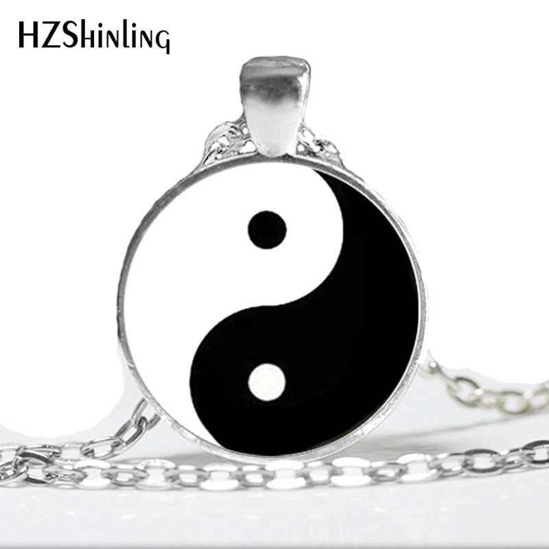 Yin Yang Pendant Yin Yang Necklace Handmade Glass Tile Yin Yang Chinese Oriental Asian Necklace Pendant Glass Dome Necklace HZ1