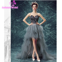 Vestido 2017 Black Gray Feathers High Low Elegant Prom Rreal Picture Evening Dress Strapless Sleeveless Lace Hi Lo Evening Gown