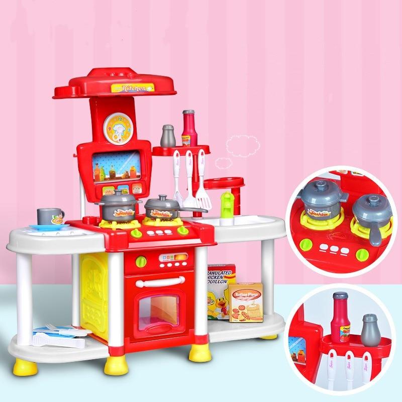 Simulation Kitchen Toys Lighting Sound Effect Kitchen Cooking Kitchenware Girl Pretend Play Kitchen Set Toys Tableware Sets