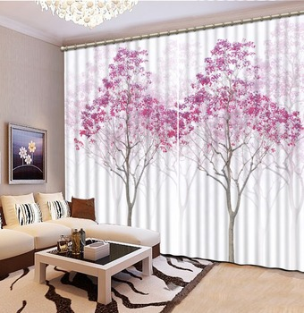 pink forest curtains 3D Window Curtain Foggy forest Luxury Blackout Living Room office Bedroom tree curtains Customized size