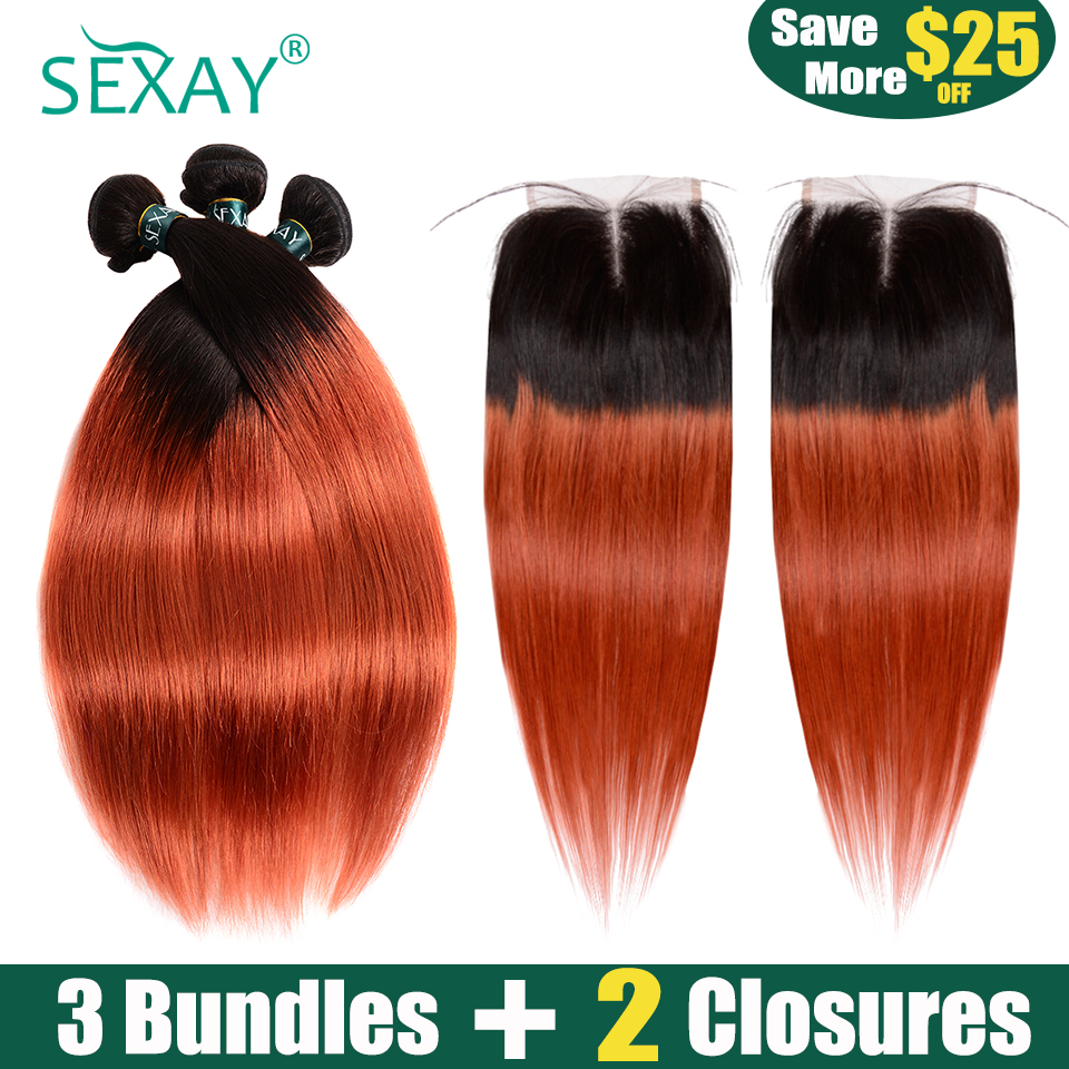 3 Bundles With Closure Ombre Brazilian Hair Bundles With Two Closures 1B/350 Orange Color SEXAY Non Remy Human Hair With Closure