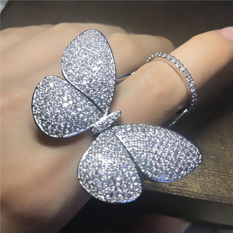 AlooWay haute qualité zircon complet strass papillon étonnamment ailes anneau réglable bague