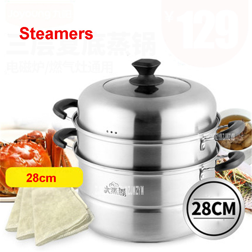 ZGH2801 stainless steel steamer pot diameter 28cm stew pot 3 layer cooking pot can be induction kicthen gas cooker visible cover multifunctional cooking pot soup pot steamer with stainless steel steamer diameter 20cm for electromagnetic furnace gas stove