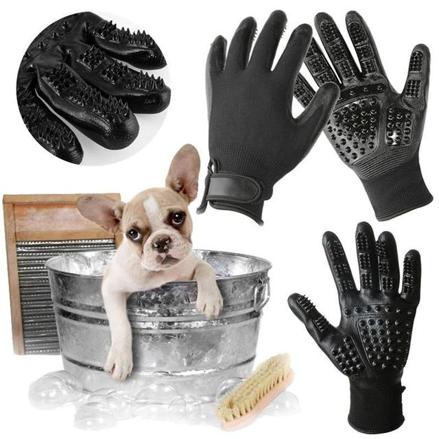 1 Pair Pet Grooming Gloves Dog Cat Hair Cleaning Brush Comb Rubber Five Fingers Deshedding Pet Glove