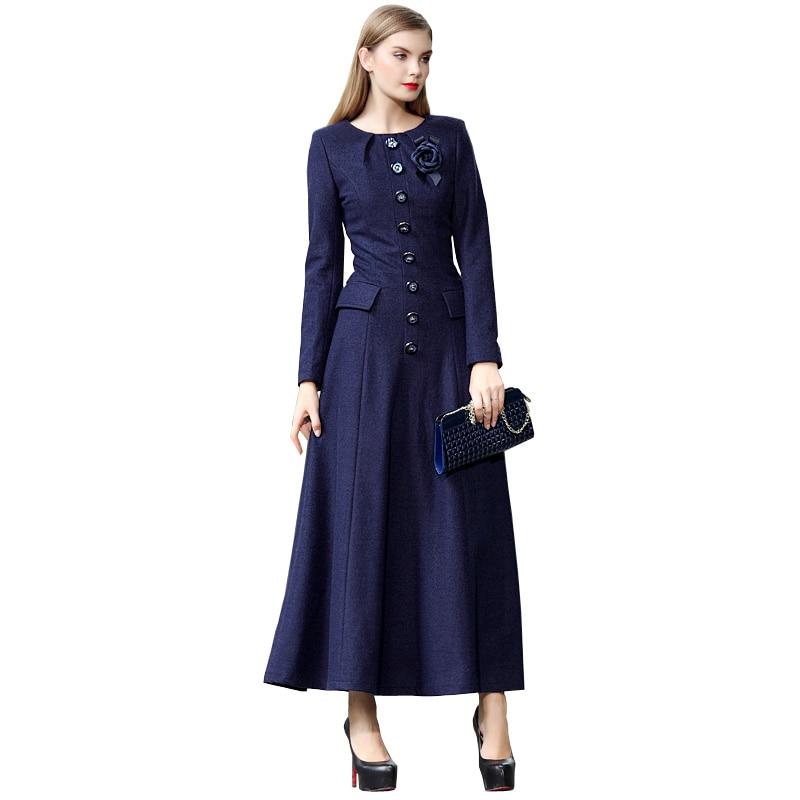 88fddb75c2 Vintage Kobiety Zima Maxi Długa sukienka Z Wełny Slim Fit Z Długim Rękawem  Muzułmaninem Maxi Sukienki Plus Size Odzież Z Broszka 5422