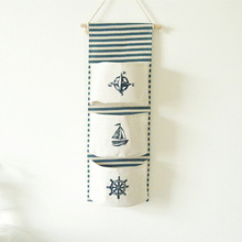 Wall Hanging Storage Sea navy Cotton Linen Bag 3 Pockets Mounted Wardrobe Hang Pouch lovely Toys Organizer