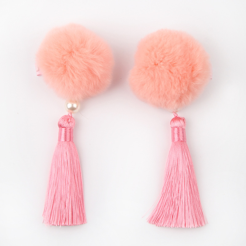 2PC/Set Chinese Red Children Hairpin Tassel Hairball Hair Clip Girls Accessories Vingtage Style Headdress Clip New Fashion 2018