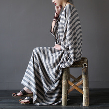Women summer linen robe dress loose plus size Striped dresses literary O-neck three quarter sleeve mid-calf vintage