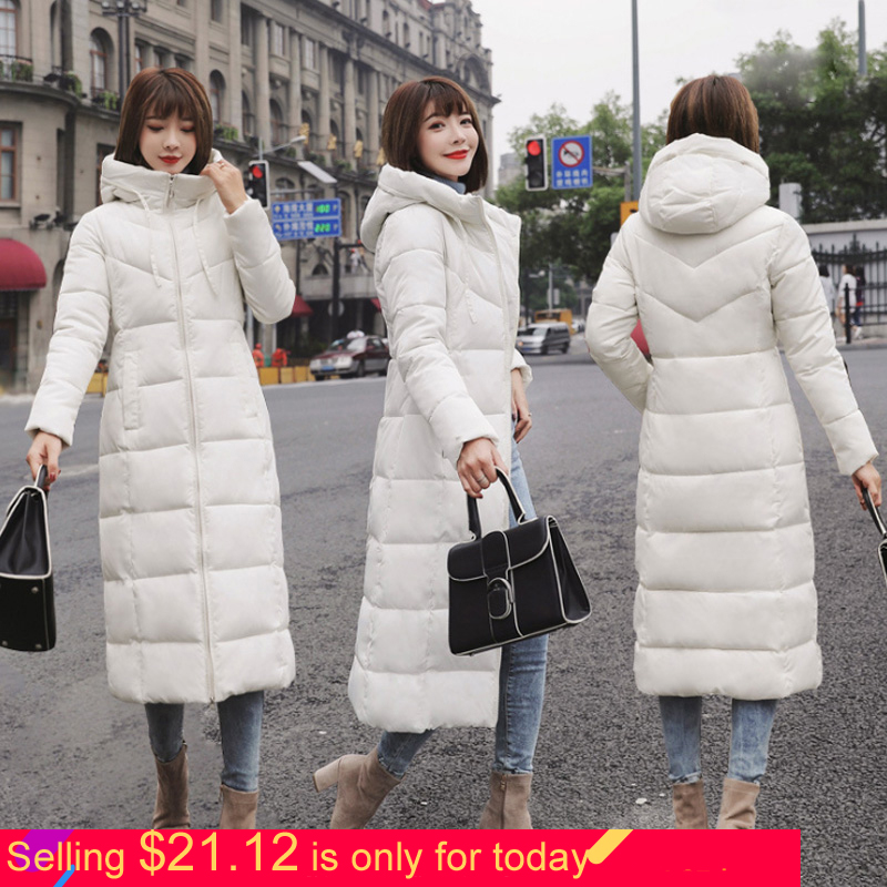 Hoody Bubble Coat Slim Parka Duck Down Long Coat Full Sleeve Zipper Korean Parkas Winter Coat Women Parka X Long 6XL Plus Size