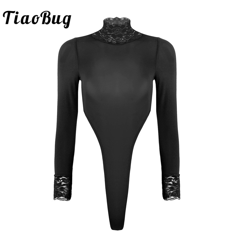 TiaoBug Fashion Women Long Sleeve Floral Lace Bodysuit Turtleneck High Cut Leotard Sexy Women Bodysuit Overall Playsuit Teddy