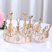 Diwoni Golden Crown Ornament Birthday Party Cake Decoration Manual Aluminium Alloy Rhinestone Solid Color