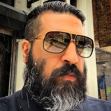Brand Designer Oversized Men Sunglasses Women Flat Top Sun Glasses Square 18 K Gold  Male Oculos de sol High Quality Five Style