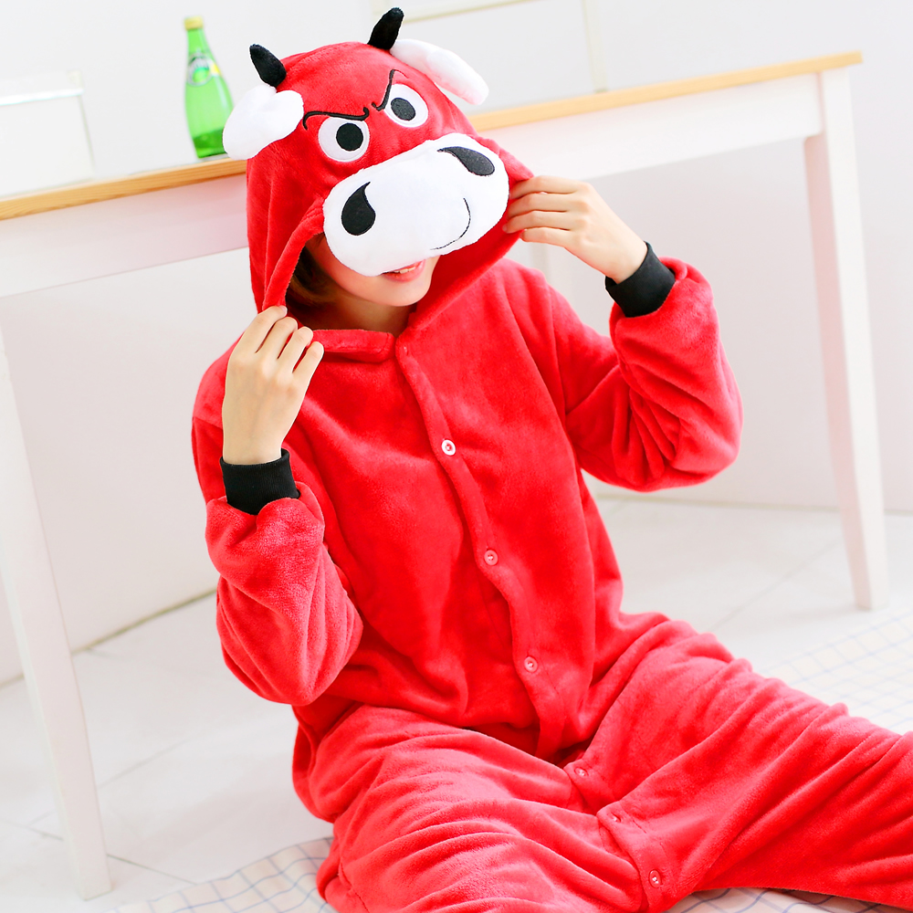 Cartoon Animal Red cow Plush Cosplay Unisex Adult Flannel Hooded Pajamas For Women Men G ...