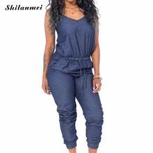 b7eede18e41f 2018 Elegant Women Denim Jumpsuit Long Blue Jeans Playsuit For Women Sexy  Backless Fashion Summer Club Jumpsuit Female Overalls