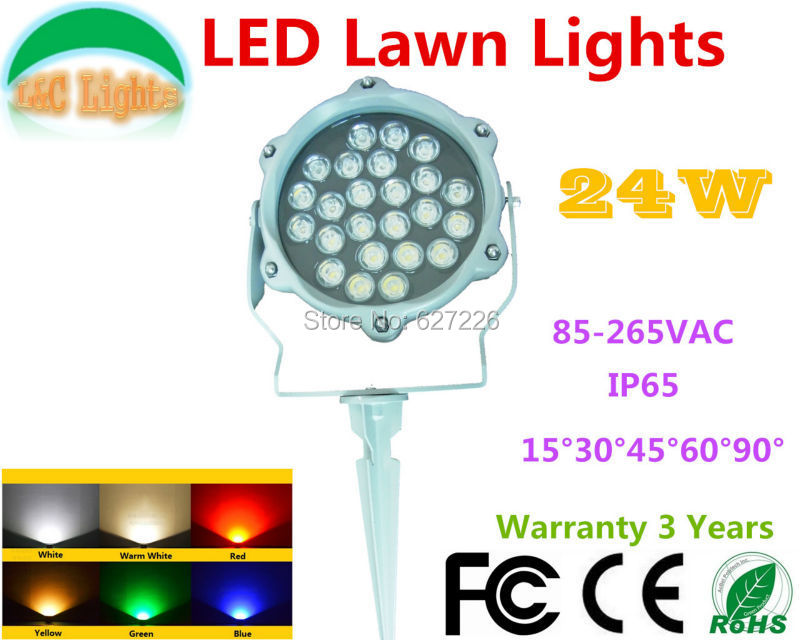 ФОТО 110V 220V 24W Single color LED Lawn Lights Red Green Blue Yellow White Flood Lights IP65 Outdoor LED Garden Spotlights CE RoHS