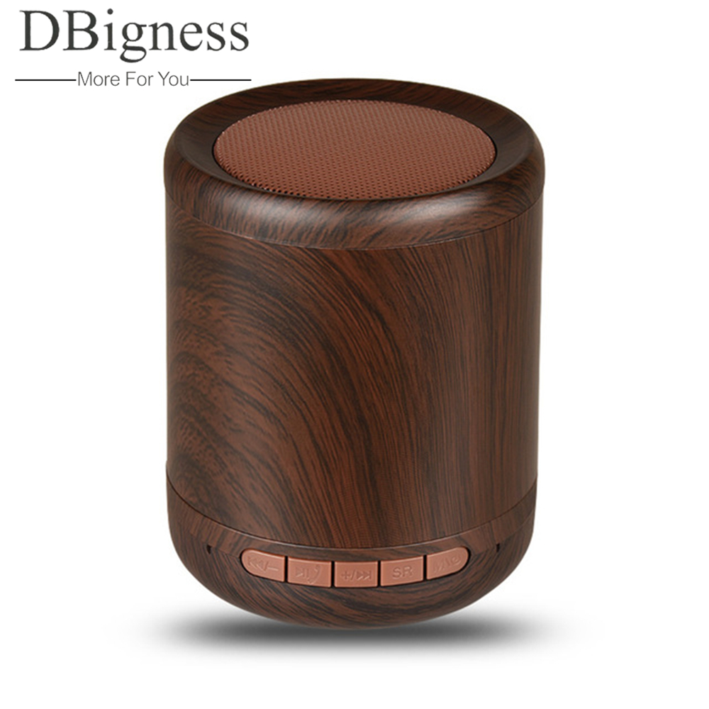 Dbigness Mini Wooden Bluetooth Speakerphone Wireless Stereo Speaker Support TF AUX Handsfree Caixa de som portatil Phone Speaker
