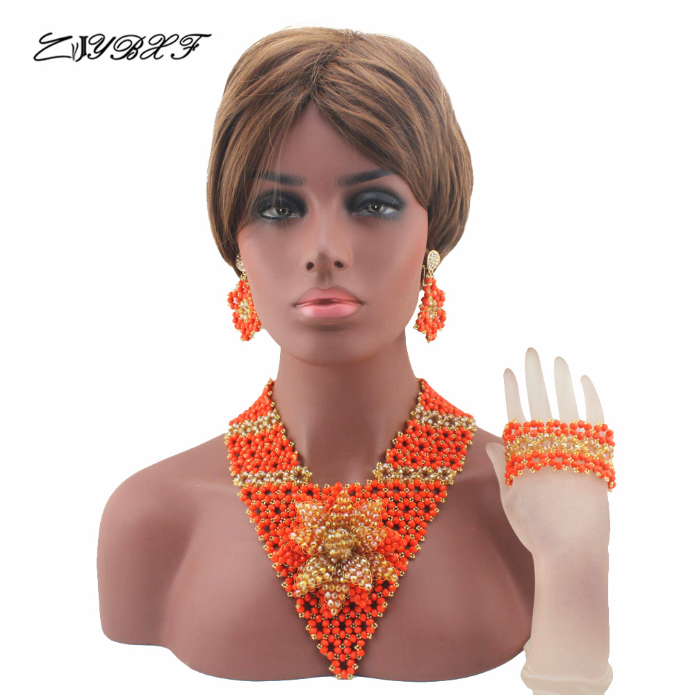Classic Flower Orange/ Nigerian Wedding African Jewelry Set Traditional Beads Bridal Accessory Women Free Shipping HD8230Classic Flower Orange/ Nigerian Wedding African Jewelry Set Traditional Beads Bridal Accessory Women Free Shipping HD8230