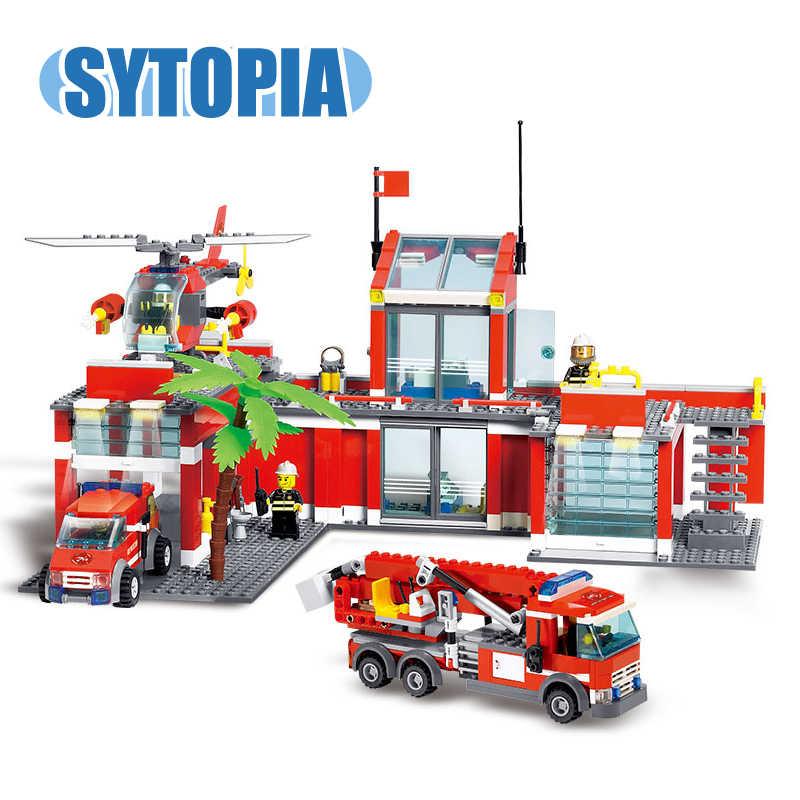 אש תחנת משאית מסוק סדרת עיר בלוקים צעצועים חינוכיים מתנה עבור ילד ילדה ילדים