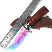 2016 new Colorful small hunting knife Damascus steel Tiger Fade Tooth Straight Knives Tactical Knife Camping Survival Knife