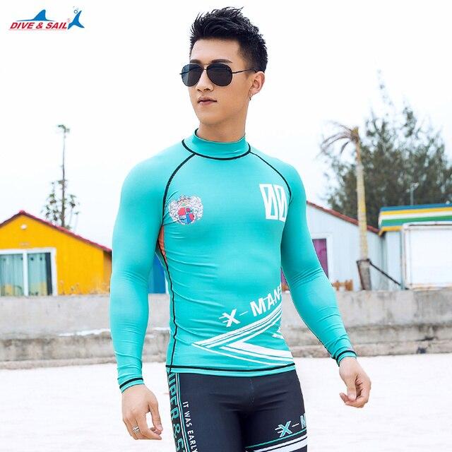 ef69e7f0e6 Rash Guard Men Long Sleeve UPF 50+ UV Protection Swimsuits Top Swimming  Shirt Swim Tee Crew Sun Shirt Rashguard