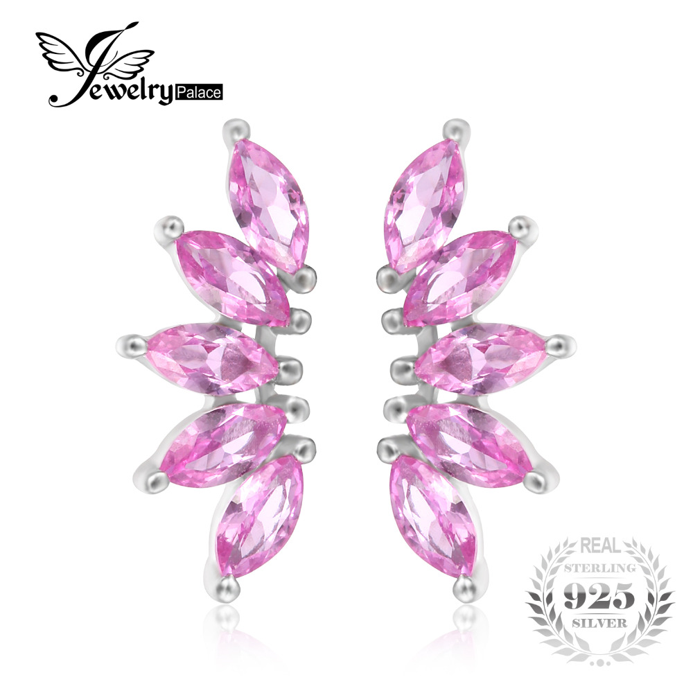 Jewelrypalace Brand 241ct Marquise Created Pink Sapphire Wing Stud Earrings  For Women Trenty 925 Sterling