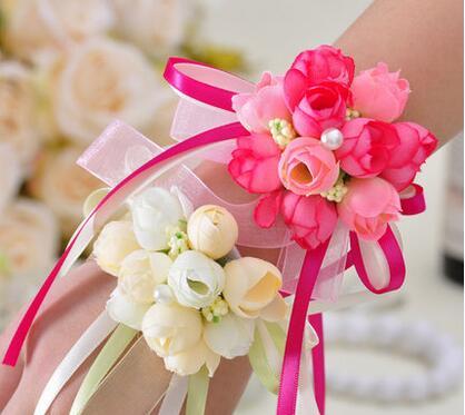 10pcs / lot יד פרח Bridesmaid משי ורדים ורדים - חגים ומסיבות