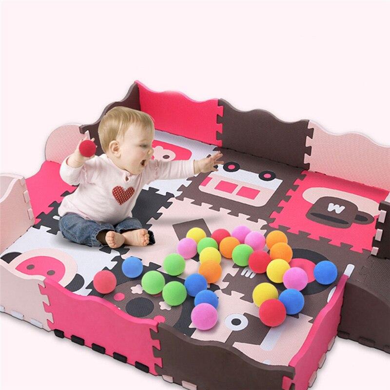 Bébé assembler tapis de jeu enfants mousse clôture ramper jeu coussin enfants imperméable Puzzle Portable chambre salon tapis Pad - 2
