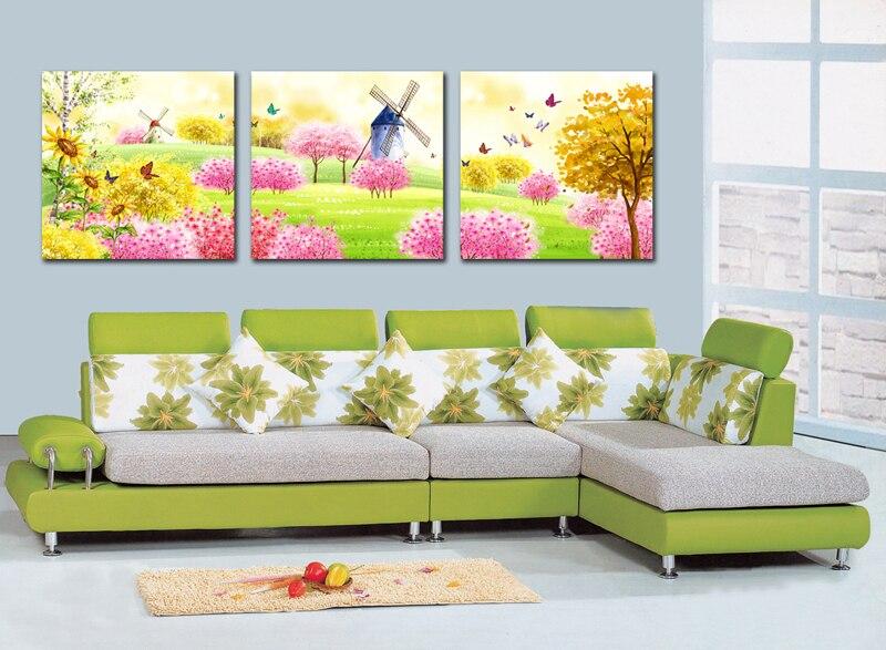 3 pièce toile art peinture de bande dessinée soleil paysage Moulin À Vent, papillon, Mur de tournesol Art photos Imprimer Peinture